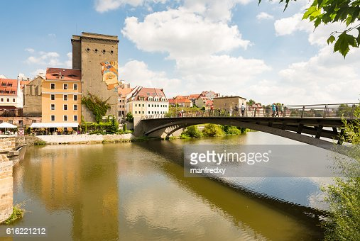 View from Germany to the polish city Zgorcelec : Stockfoto
