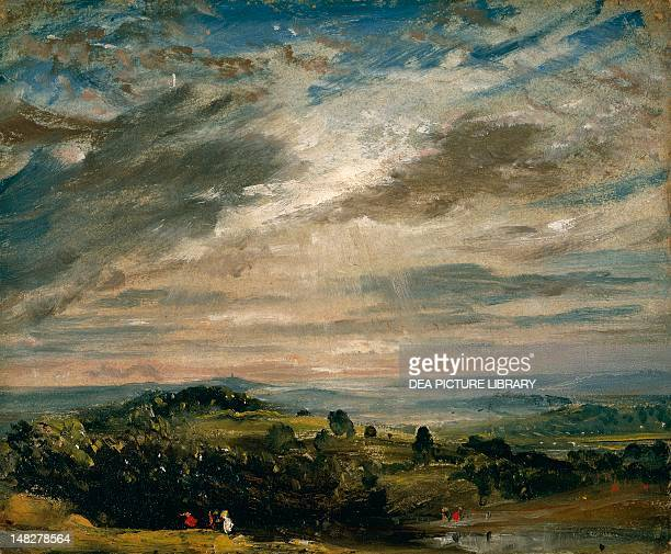 View from Hampstead Heath looking towards Harrow by John Constable oil on paper laid on canvas 25x30 cm Manchester Manchester Art Gallery