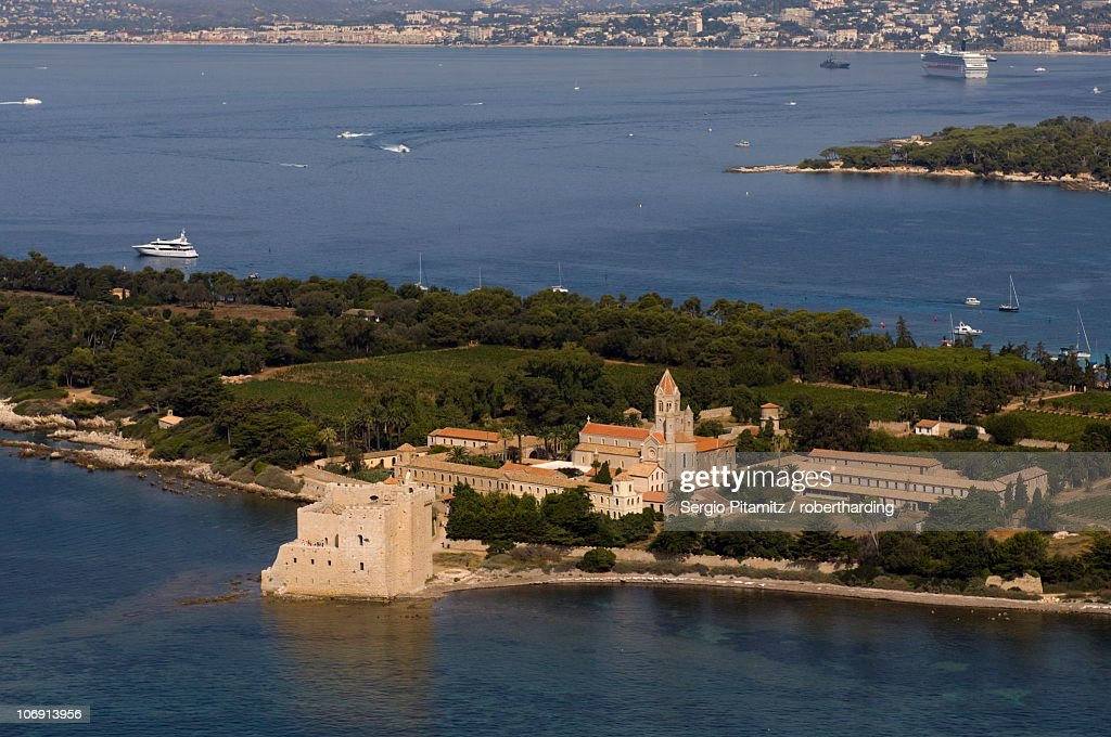 view from helicopter of lerins abbey ile sainthonorat iles de lerins provence cote dazur french. Black Bedroom Furniture Sets. Home Design Ideas