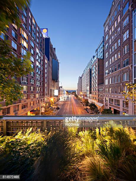 View from High line at sunset, Manhattan, New York
