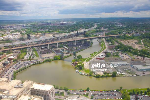 View from high up of Cleveland's Cuyahoga River