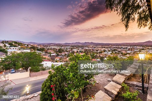 View from hotel patio of cityscape, Windhoek, Namibia, Namibia