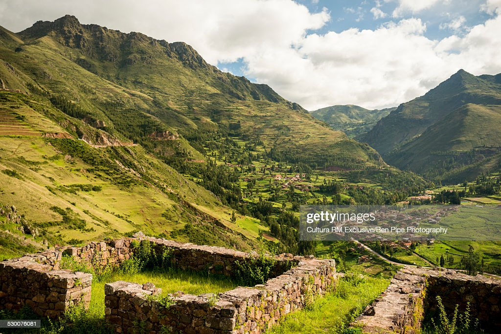 View from Inca Citadel of Pisac ruins, Sacred Valley, Peru, South America