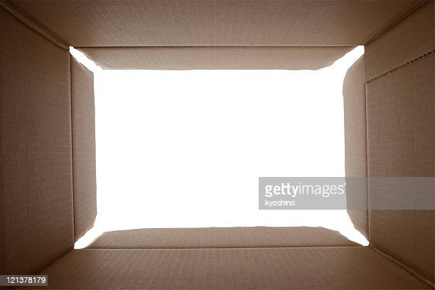 View from inside a cardboard box against white background