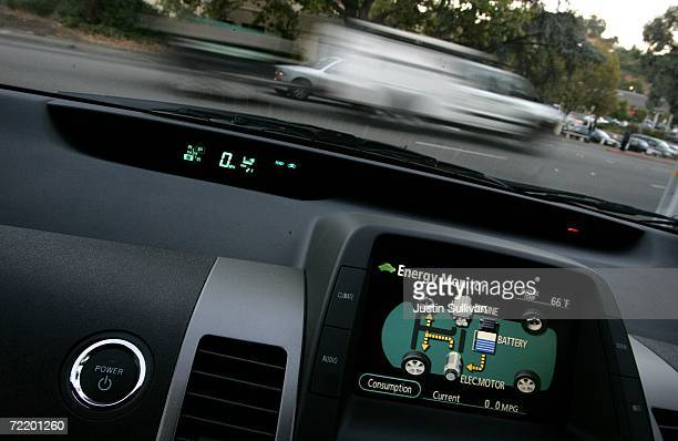 A view from inside a Toyota Prius hybrid vehicle while stopped at an intersection October 17 2006 in San Anselmo California Economy and Hybrid...