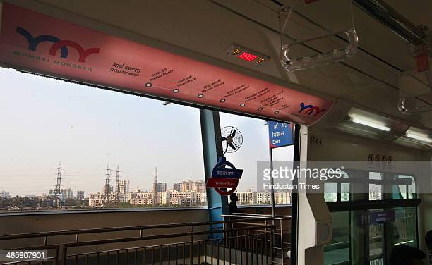 View from inside the Monorail of platform during its trial run on January 30 2013 in Mumbai India The country's first Monorail service will be...