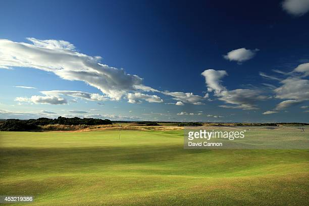 A view from just short of the green on the 412 yards par 4 6th hole 'Heatherly Out' on the Old Course at St Andrews venue for The Open Championship...