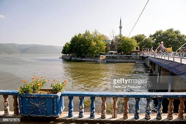 View from lake Uluabat on Mosque at village Golyazi of Turkey
