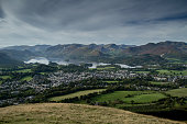 View from Latrigg over Keswick, Derwent Water and the Lake District Fells, Cumbria.