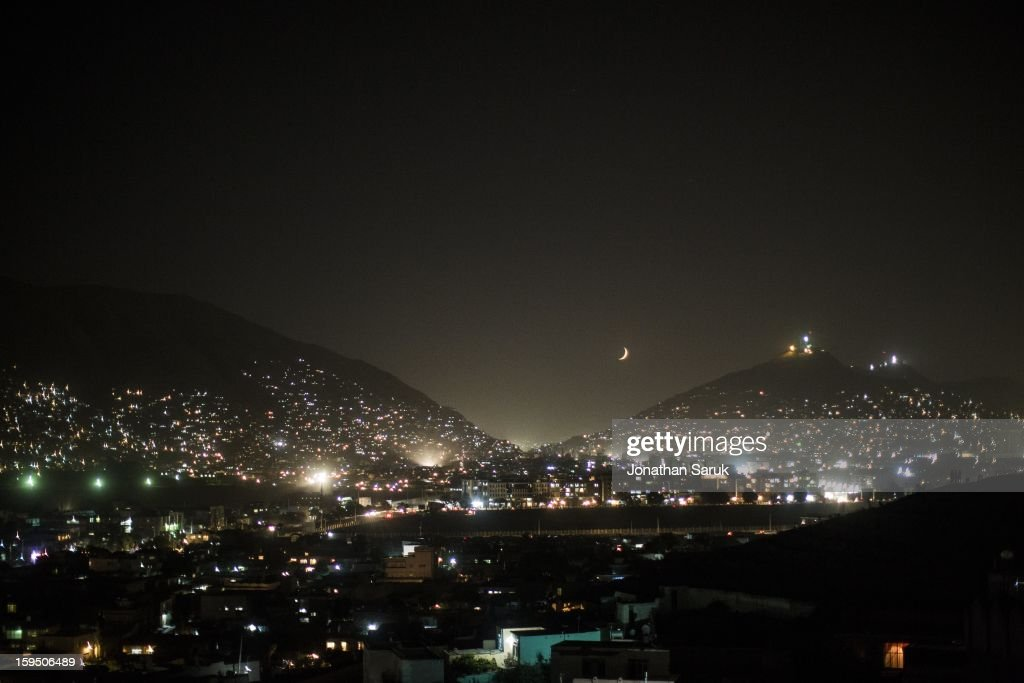 A view from Maranjan Hill at night near the old city of Kabul July 22, 2012 in Kabul, Afghanistan.