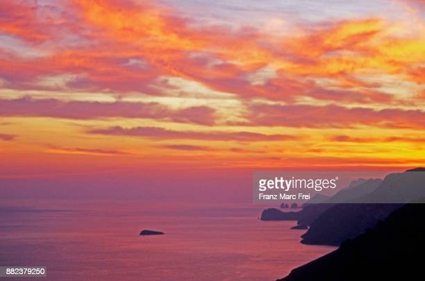 View from Montepertuso over the Amalfi coast and of the Faraglioni of Capri,Positano, Amalfi coast, Campania, Italy
