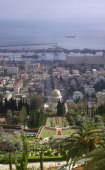 A view from Mt Carmel looking over the Bahá Gardens and the Shrine of the Báb in Haifa Israel
