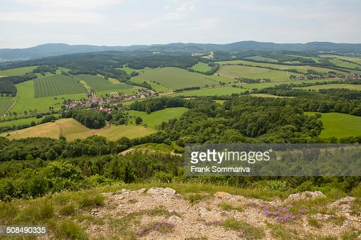 View from Mt Grosser Horselberg towards the Thuringian Forest, near Eisenach, Thuringia, Germany