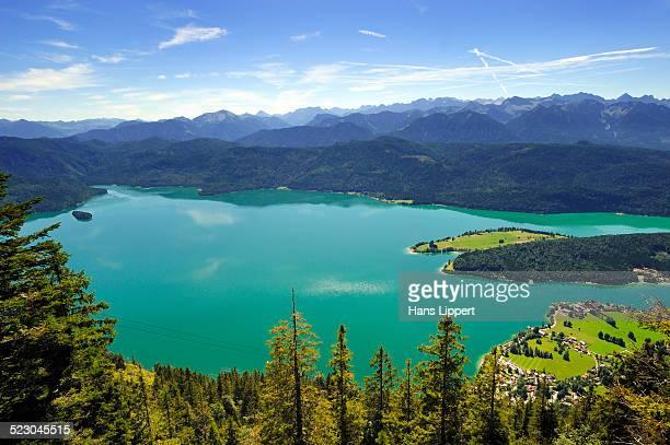 View from Mt. Herzogstand on Lake Walchensee, Bad Toelz-Wolfratshausen district, Upper Bavaria, Bavaria, Germany, Europe
