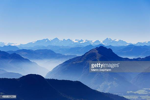 View from Mt Kampenwand to the south, Mt Unterberghorn, right, Hohe Tauern range, at the back, Chiemgau Alps, Aschau im Chiemgau, Upper Bavaria, Bavaria, Germany