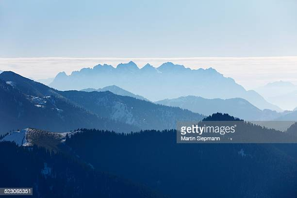 View from Mt Wallberg, Mt Wilder Kaiser in Tyrol at back, Upper Bavaria, Bavaria, Germany, Europe, PublicGround