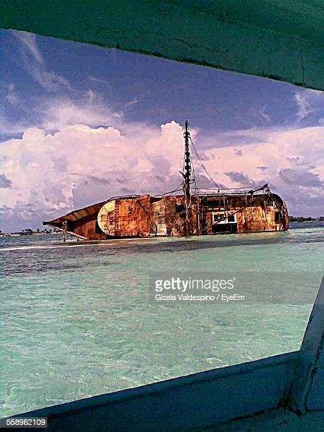 View From Nautical Vessel Window Ship Floating On Side Pastel Colored Water