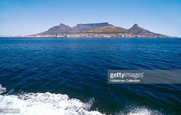 View from ocean of Table Mountain and Signal Hill Cape Town South Africa