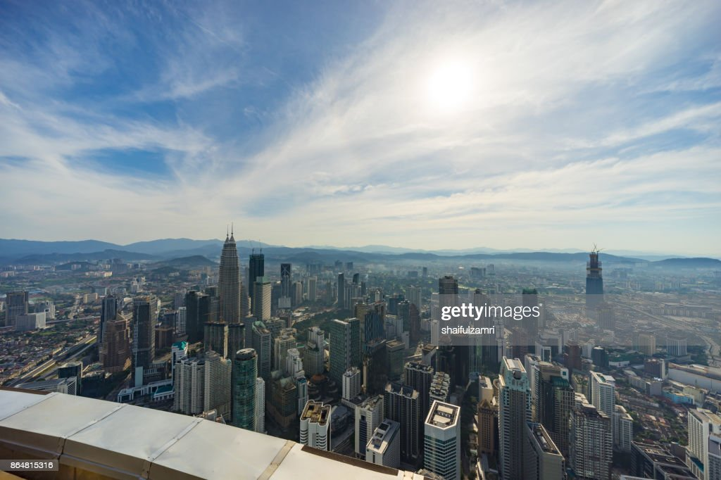 View from open deck and glass box of Kuala Lumpur Tower, a highest telecommunication tower in Malaysia (421 metres) and was completed on 1 March 1995. : Stock Photo