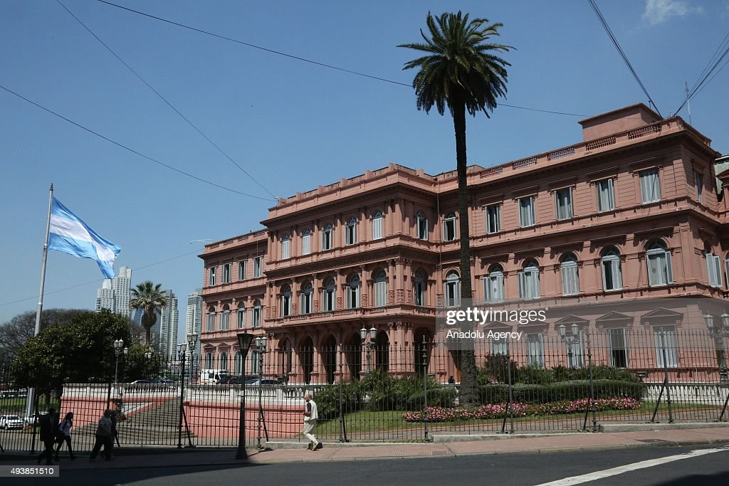 A view from presidential palace Casa Rosada prior to the presidential elections in Buenos Aires on October 23 2015 General elections will be held on...