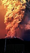 View from Puerto Varas southern Chile of a high column of ash and lava spewing from the Calbuco volcano on April 22 2015 Chile's Calbuco volcano...