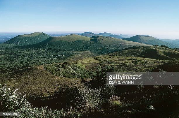 View from PuydeDome Auvergne Volcanoes regional park France