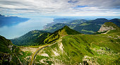 View from Rocher de Naye, Switzerland, towards Lake Leman. Above Montreux.