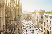 View from roof of Milan's Duomo on Milan central square..