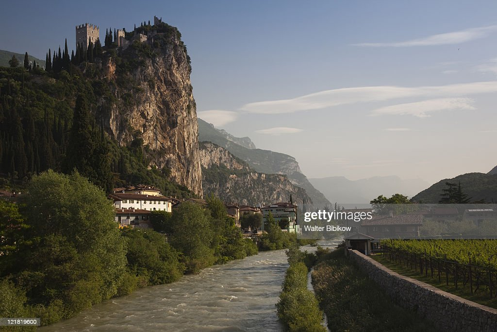 View from Sarca River, Mountaintop Castello di Arco castle, Arco, Lake Garda, Lake District, Trentino-Alto Adige, Italy