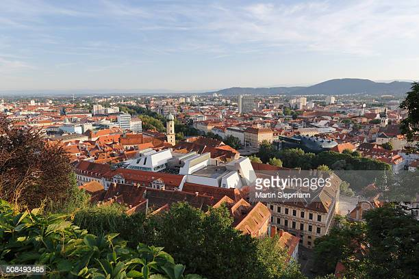 View from Schlossberg, castle hill, Franciscan Church and Cafe Lounge in the roof of Kastner and Oehler, Graz, Stryria, Europe, PublicGround