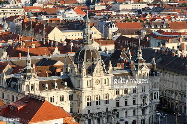 View from Schlossberg, castle hill, to the Town Hall, Graz, Styria, Austria, Europe, PublicGround