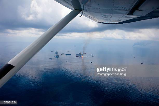 View from Seaplane of Deepwater Horizon Oil Rig