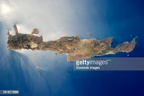 View from space of the island of Crete.