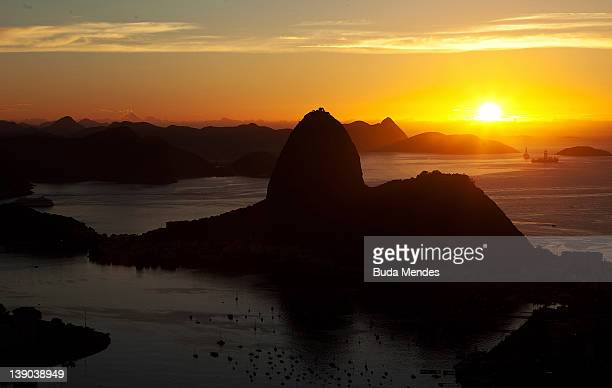 View from Sugar Loaf in the early morning on February 14 2012 in Rio de Janeiro Brazil Rio de Janeiro was founded on 447 years ago on the 1st of...