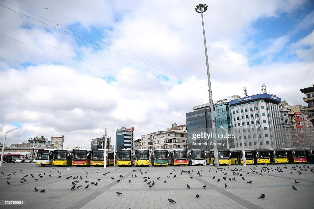 A view from Taksim Square as May Day demonstrations in Istanbul have not been allowed to take place at the city's famous square site by the authorities as main celebrations continue at an open market area in the Bakirkoy neighborhood located on the city's European side on May 01, 2016 in Istanbul, Turkey. Every year, May Day is observed and commemorated as an official holiday under the name 'May 1, Labour and Solidarity Day' all around Turkey.