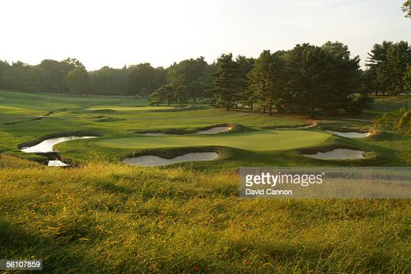 A view from the 10th tee over the green on the 193 yard par 3 9th hole with the 4th green behind on the East Course at Merion Golf Club on September...