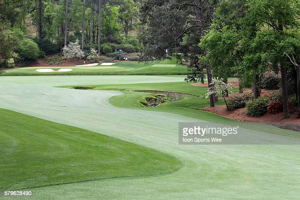 A view from the 13th hole's fairway looking back towards the 11th green of Amen's Corner during the practice round for the 2015 Masters Tournament at...