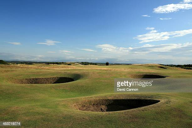 A view from the 14th fairway over the bunkers that protect the left side approach to the par 5 5th hole on the Old Course at St Andrews venue for The...