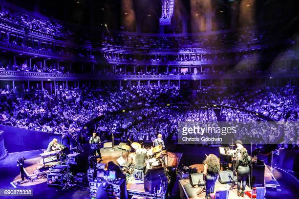 View from the back of the stage showing the crowds in the auditorium watching Eric Clapton perform at the Royal Albert Hall on 21 May 2015 in London...