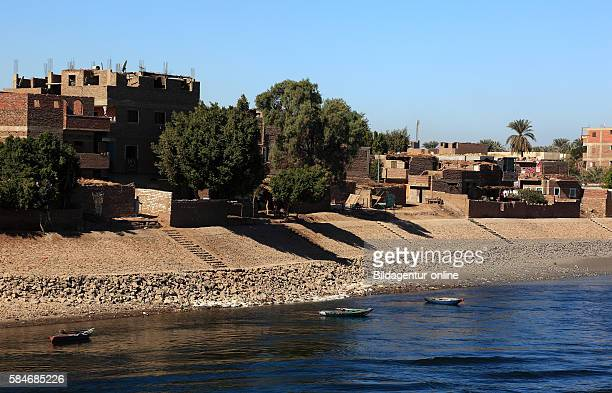 View from the boat on the Nile to residential town Esna Upper Egypt