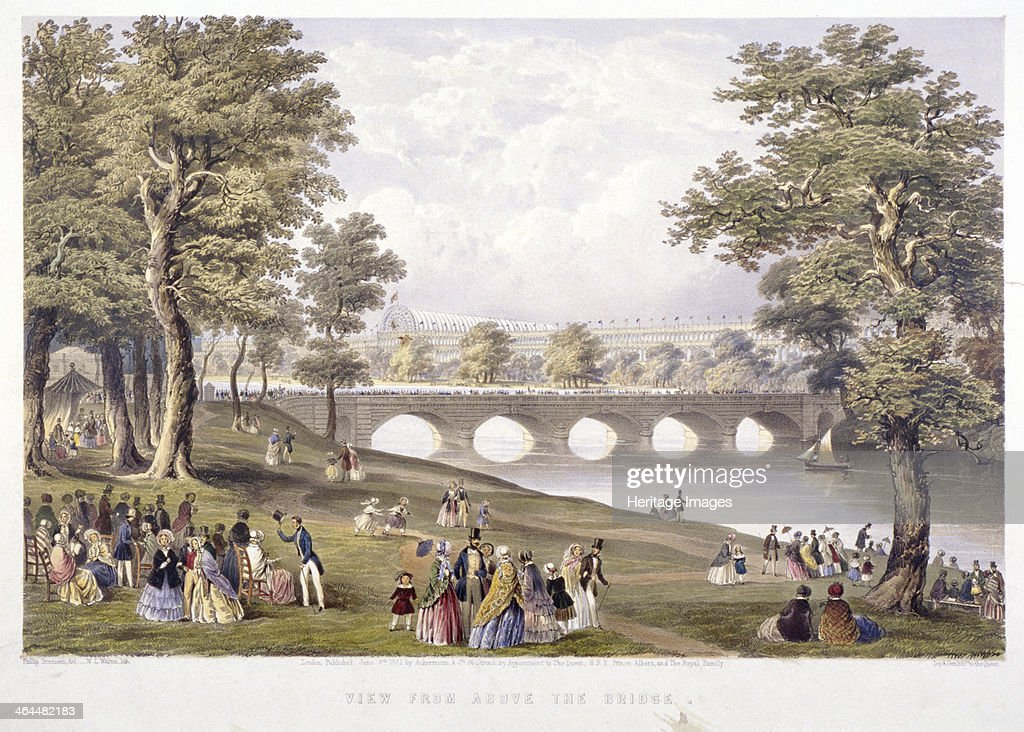 View from the bridge on the Serpentine towards Crystal Palace London 1851 Crystal Palace was the building for the Great Exhibition of 1851 Figures...