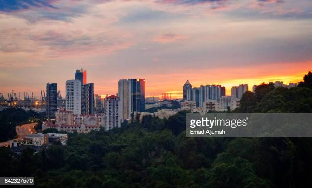 View from the cable car passing over strait between mount faber and sentosa island, Singapore - August 23, 2017