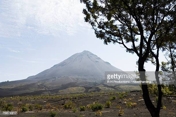 View from the caldera of the volcano of Pico de Fogo, Fogo (Fire), Cape Verde Islands, Africa