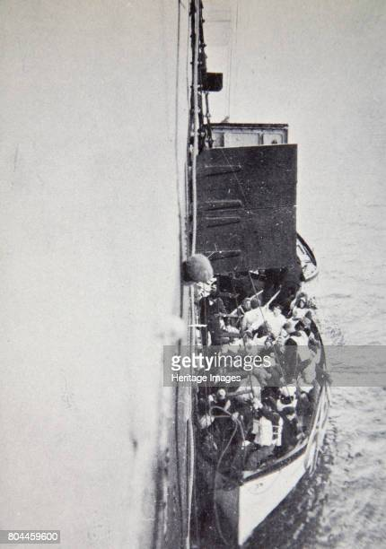 View from the 'Carpathia' of a lifeboat from the 'Titanic' brought alongside 15 April 1912 Operated by the White Star Line RMS 'Titanic' was the...