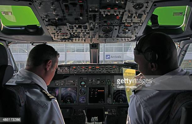 A view from the cockpit of a Mango Airlines Boeing 737800 with captain Lourens Sadler and copilot first officer Mohau Tlhapuletsa during a flight...
