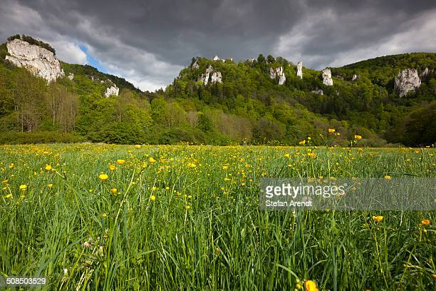 View from the Danube Valley to Burg Wildenstein Castle with rocks, Baden-Wuerttemberg, Germany, Europe