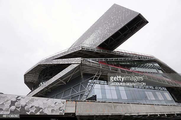 A view from the east of the new 'Philharmonie de Paris' under construction in the Parc de la Villette close to Porte de Pantin in northeast Paris...