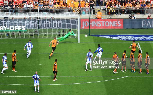A view from the gantry as Hull City goalkeeper Eldin Jakupovic makes a save from Sheffield Wednesday's Ross Wallace's free kick