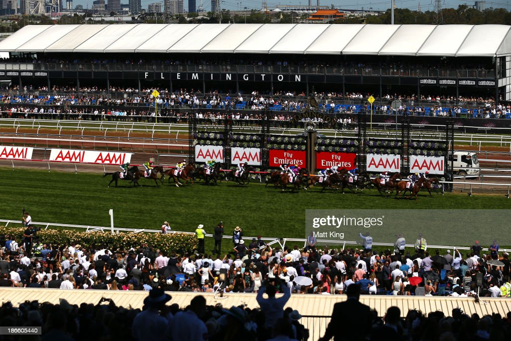 A view from the grandstand of the AAMI Victoria Derby, during Derby Day at Flemington Racecourse on November 2, 2013 in Melbourne, Australia.