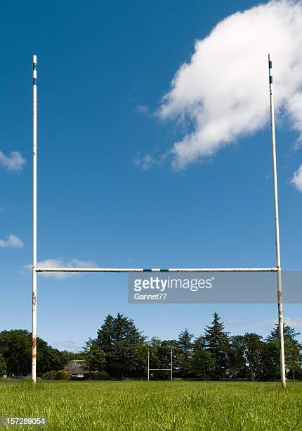 A view from the ground of rugby goal posts